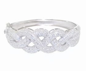 "Sterling Silver 7.5"" CZ Bangle 82210063"