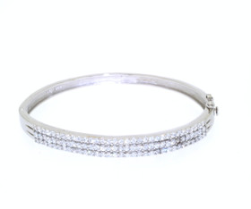 "Sterling Silver 7"" CZ Bangle 82210066"