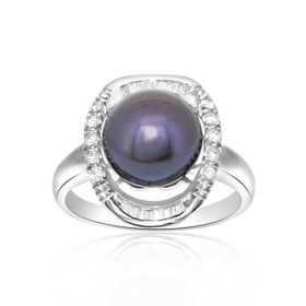 14k White Gold Diamond Black Pearl Ring 12002486