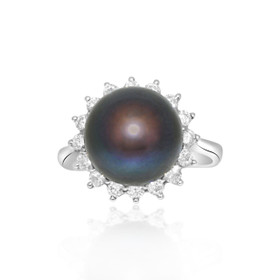 14k White Gold Diamond Black Pearl Ring 12002485