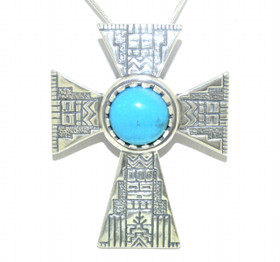 Engraved Sterling Silver Cross Turqoise Charm 85210487