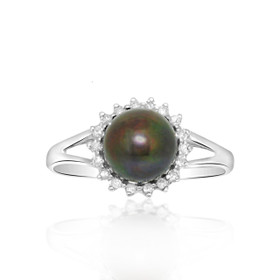 14k White Gold Diamond Dyed Black Pearl Ring 12002488