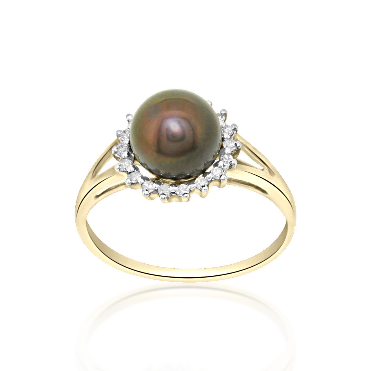f665410aca4d18 14k Yellow Gold Diamond Black dyed Pearl Ring, Best Price From Shin ...