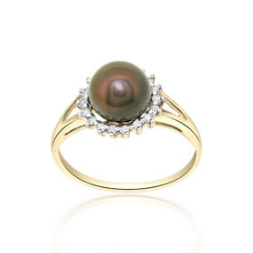 14k Yellow Gold Diamond Black dyed Pearl Ring 12002487