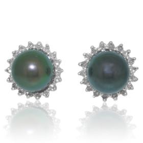 14K Yellow Gold Diamond Black Pearl Earring 42002650