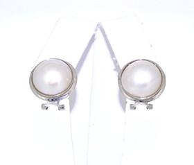 14K White Gold Mabe Pearl Omega Back Earrings42002618