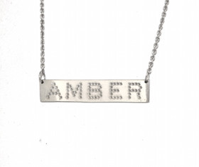 Sterling Silver Amber Name Bar Necklace 83310026