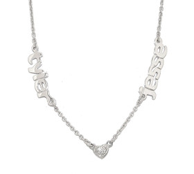 Sterling Silver Names/CZ Heart Necklace 83310025