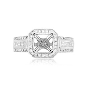 14K White Gold 0.35 ct Diamond 4 Prong Ring Setting