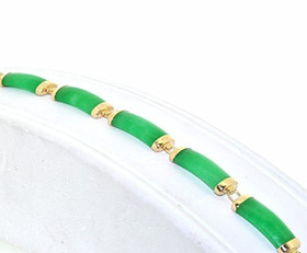 "14K Yellow Gold Green Dyed Treated Jade 7"" Bracelet 22000691"