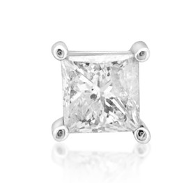 Single 14K White Gold Diamond Stud Earring 41110009