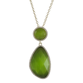 Gold Plated Silver Olive Cat's Eye Faceted Semi Precious Stone CZ Border Pendant
