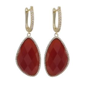 Gold Plated Sterling Silver Fire Jade Semi Precious Faceted Stone,With CZ Border Lever Back Earrings 84010386