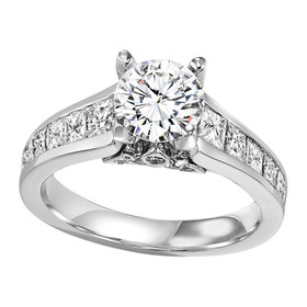 Sterling Silver Fancy CZ Engagement Ring 81010487