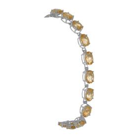 "14K white gold citrine 7"" stone bracelet 22000682"