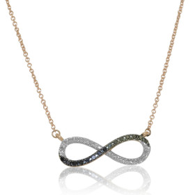 """10K Pink Gold Black And White Diamond Infinity 18"""" Chain Necklace 39000118"""