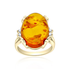 14K Yellow Gold Diamond/ Amber Ring 12002511