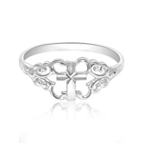 10k White Gold Cross Ring 19000212