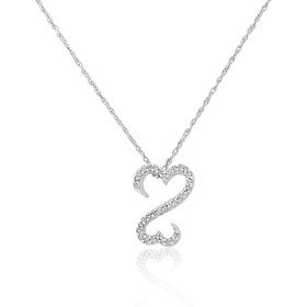 "10k White Gold Diamond Open Heart 18"" necklace 59110038"