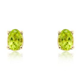 14K Yellow Gold Peridot Oval Stud Earrings 42000683