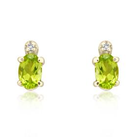 10K Yellow Gold Diamond Peridot Studs Earring 42000588