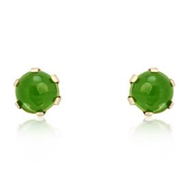 14K Yellow Gold Jade Stud Earrings