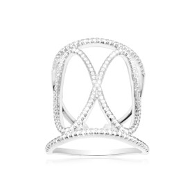 Silver CZ Fancy Infinity Design Ring 81010440