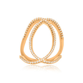 Silver Pink Gold Plated CZ Fancy Infinity Design Ring 81010443