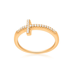 Sterling Silver Pink Gold Plated CZ Cross Ring 81010446