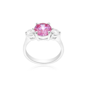 Sterling Silver Pink/White CZ Ring 81010376
