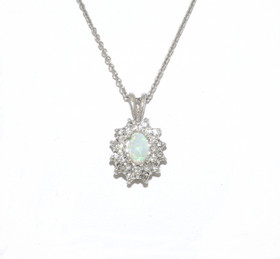 14K White Gold Opal and Diamonds Necklace 32000481
