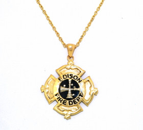 14K Yellow Gold Onyx Edison Fire Dept Charm 52001753