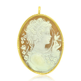 18k Yellow Gold Cameo Pendant/Pin 52001825