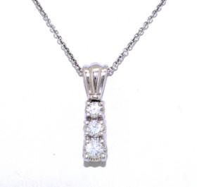 14K White Gold Three-Stone Graduated Diamond Pendant 51001736
