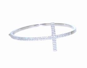 Sterling Silver CZ Cross Bangle  80000590