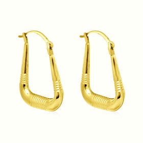10K Yellow Gold Fancy Hoop Earrings 49000119-E