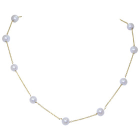 14k Yellow Gold 7-7.5 mm Pearl Necklace 32000250