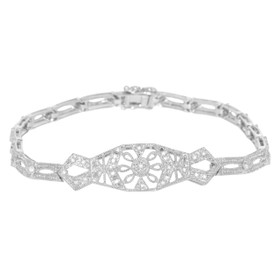 14K White Gold Diamond Antique Look Bracelet
