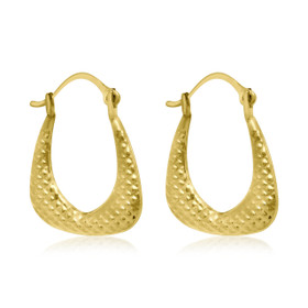 10K Yellow Gold Fancy Hoop Earrings 49000120