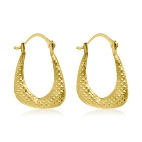 10K Yellow Gold Fancy Hoop Earrings 49000120