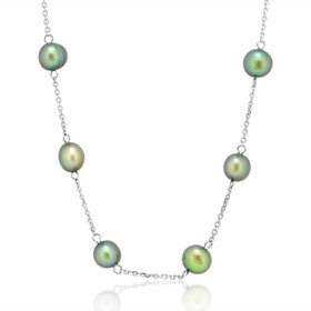 "14k White Gold 17"" Grey Fresh Water Pearls Necklace"