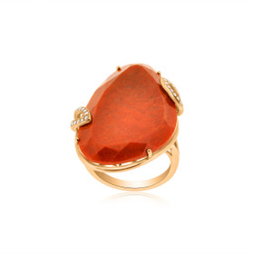 14K Rose Gold Jasper /Diamond Ring
