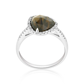 14K White Gold Smoky Topaz/Diamond Ring