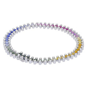 14K White Gold Diamond/Multicolored Sapphire Bracelet