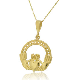 14K Yellow Gold Claddagh Charm