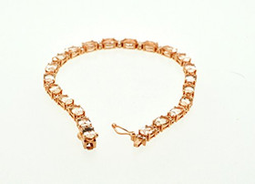 14K Pink Gold Morganite and Diamond Fancy Bracelet