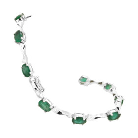 14K White Gold Diamond/Emerald Bracelet 22000701