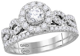 14K White Gold 1.0ct EGL Certified Diamond Engagement Ring Set
