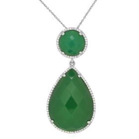14K White Gold Diamond Green Agate Pendant By Shin Brothers Jewelers Inc