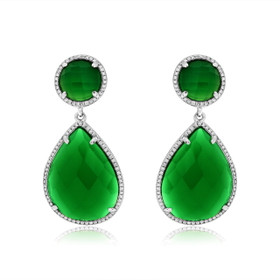 14K White Gold Diamond Green Agate Earrings